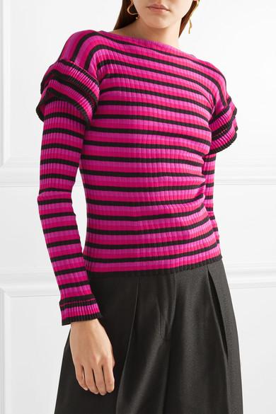 Philosophy di Lorenzo Serafini Gestufter Pullover aus gerippter Baumwolle mit Streifen