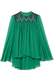 Cape-effect embroidered tulle-paneled chiffon top