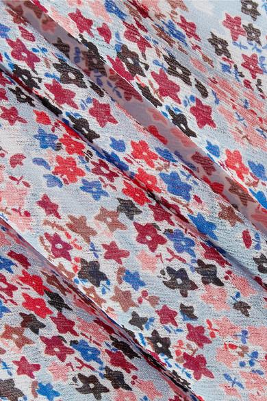 Philosophy di Lorenzo Serafini Schulterfreies Maxikleid aus Krepon mit Blumendruck und Volants