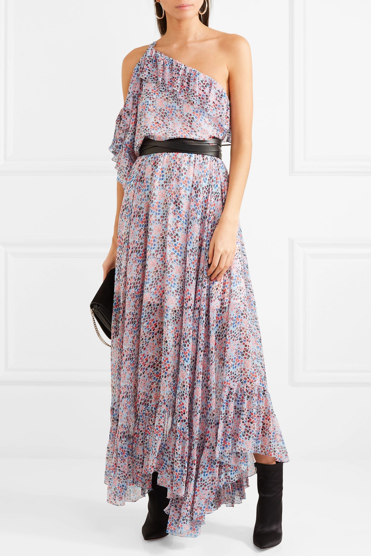 Philosophy di Lorenzo Serafini Cold-shoulder ruffled floral-print crepon maxi dress
