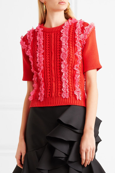 Philosophy Di Lorenzo Serafini Zopfstrickpullover Of Cotton With Lace And Braid