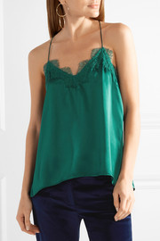 The Racer lace-trimmed silk-charmeuse camsiole