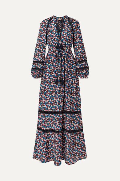 Tory Burch Sonia Maxikleid aus einer bedruckten Baumwoll-Seidenmischung mit Spitzeneinsätzen