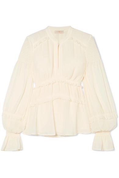 Tory Burch Stella gerüschte Bluse aus plissiertem Chiffon