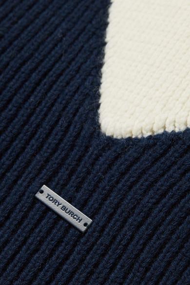 Tory Burch Hannah Pullover aus einer Wollmischung in Patchwork-Optik