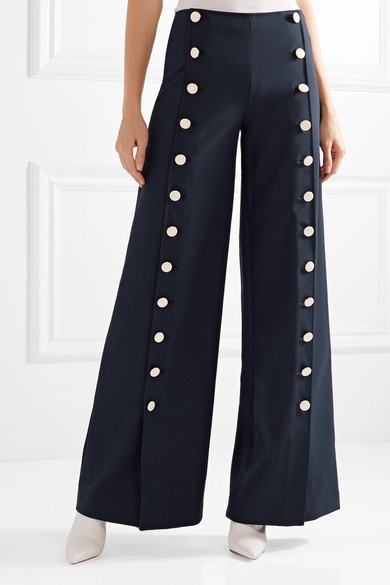 Carrie Button-embellished Crepe Wide-leg Pants - Navy Tory Burch BGpz0G