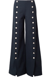 Carrie button-embellished crepe wide-leg pants