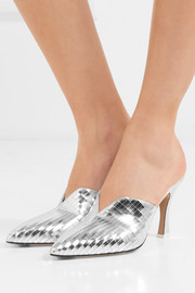 Monica mirrored-leather mules