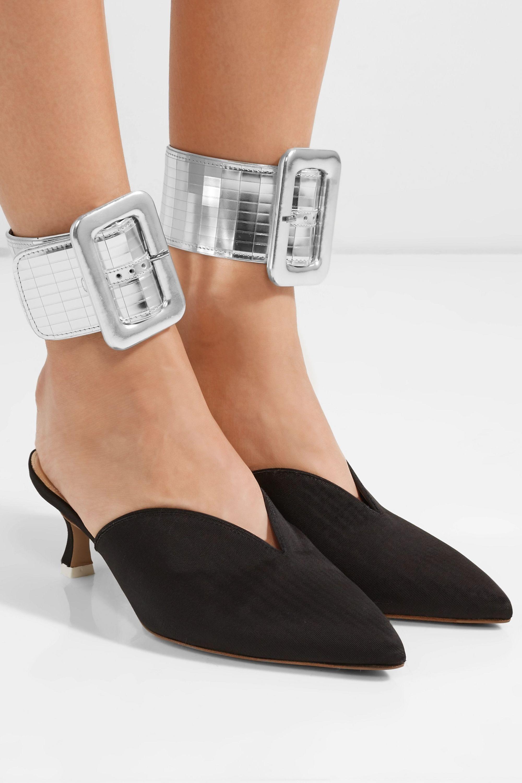 The Attico Metallic leather ankle straps