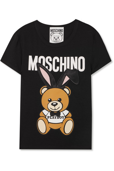 Moschino - Satin-trimmed Embroidered Stretch-jersey T-shirt - Black at NET-A-PORTER