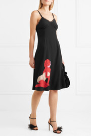 Lace-trimmed appliquéd silk-crepe midi dress