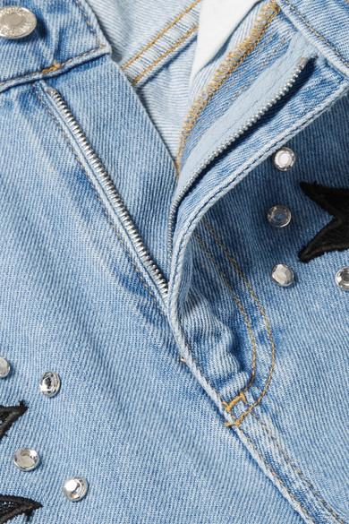 Moschino Boyfriend-Jeans mit Spitzenapplikation und Kristallen