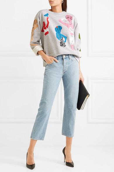 Moschino Sweatshirt aus Baumwoll-Jersey mit Perlen und Applikationen
