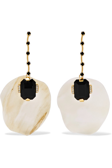 Marni - Gold-plated Horn And Crystal Earrings - Neutral