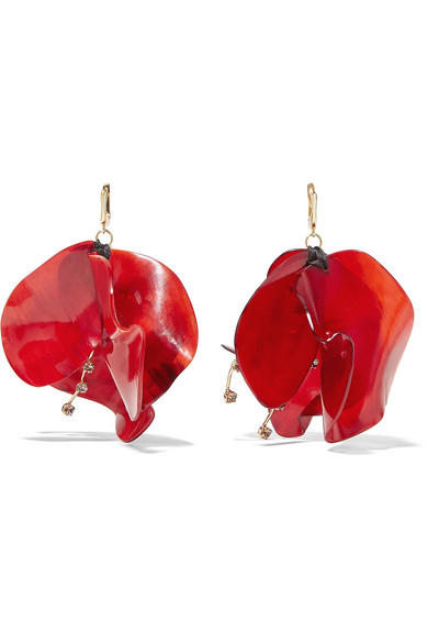 Marni - Gold-tone, Horn And Crystal Earrings - Red
