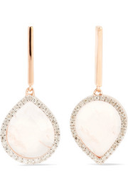 Naida Lotus rose gold vermeil, quartz and diamond earrings