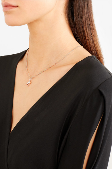 Rose Gold Diamond Alphabet Pendant M Diamond Monica Vinader tNdkk4N8rU