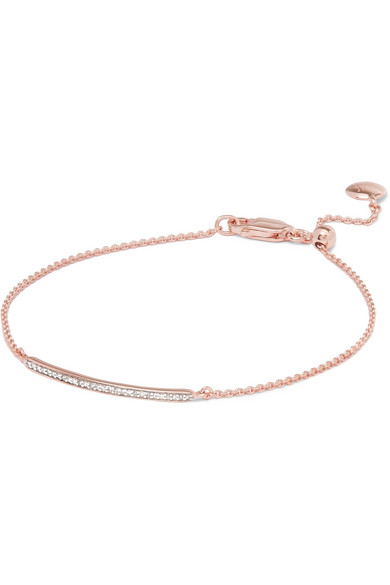 Bracelet En Diamant Maigre Courte Barre, Argent Sterling Monica Vinader