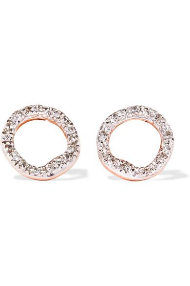 Monica Vinader Riva Circle Rose Gold Vermeil Diamond Earrings Net A Porter Com