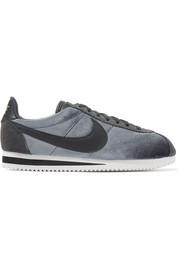 Nike Classic Cortez suede and leather-trimmed velvet sneakers