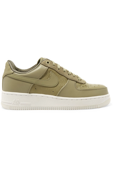Air Force 1 07 Lx Suede-trimmed Leather Sneakers - Army green Nike hNvrqjN