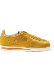 Classic Cortez faux nubuck and leather-trimmed mesh sneakers
