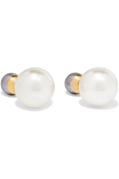 Kenneth Jay Lane Gold Tone Faux Pearl Earrings