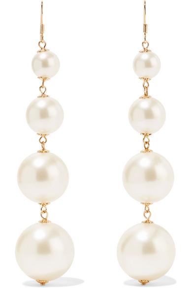 6b37e3b5f375d Gold-plated faux pearl earrings