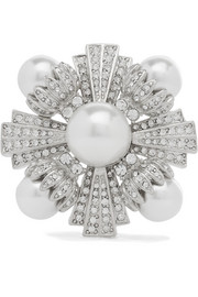 Kenneth Jay Lane Rhodium-plated, faux pearl and crystal brooch