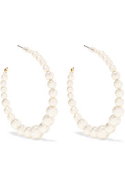 Kenneth Jay Lane Faux pearl gold-plated hoop earrings