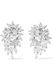 Kenneth Jay Lane Cluster rhodium-plated cubic zirconia earrings