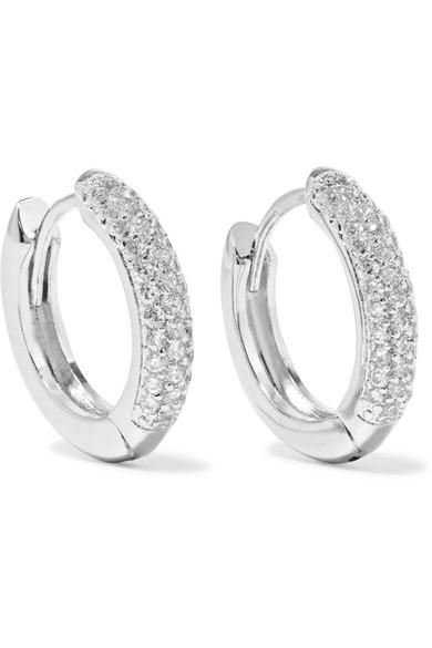 Silver Tone Cubic Zirconia Hoop Earrings by Kenneth Jay Lane