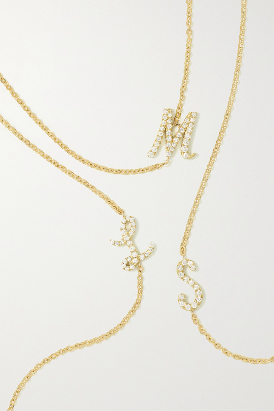 ANITA KO Initial 18-karat gold diamond necklace