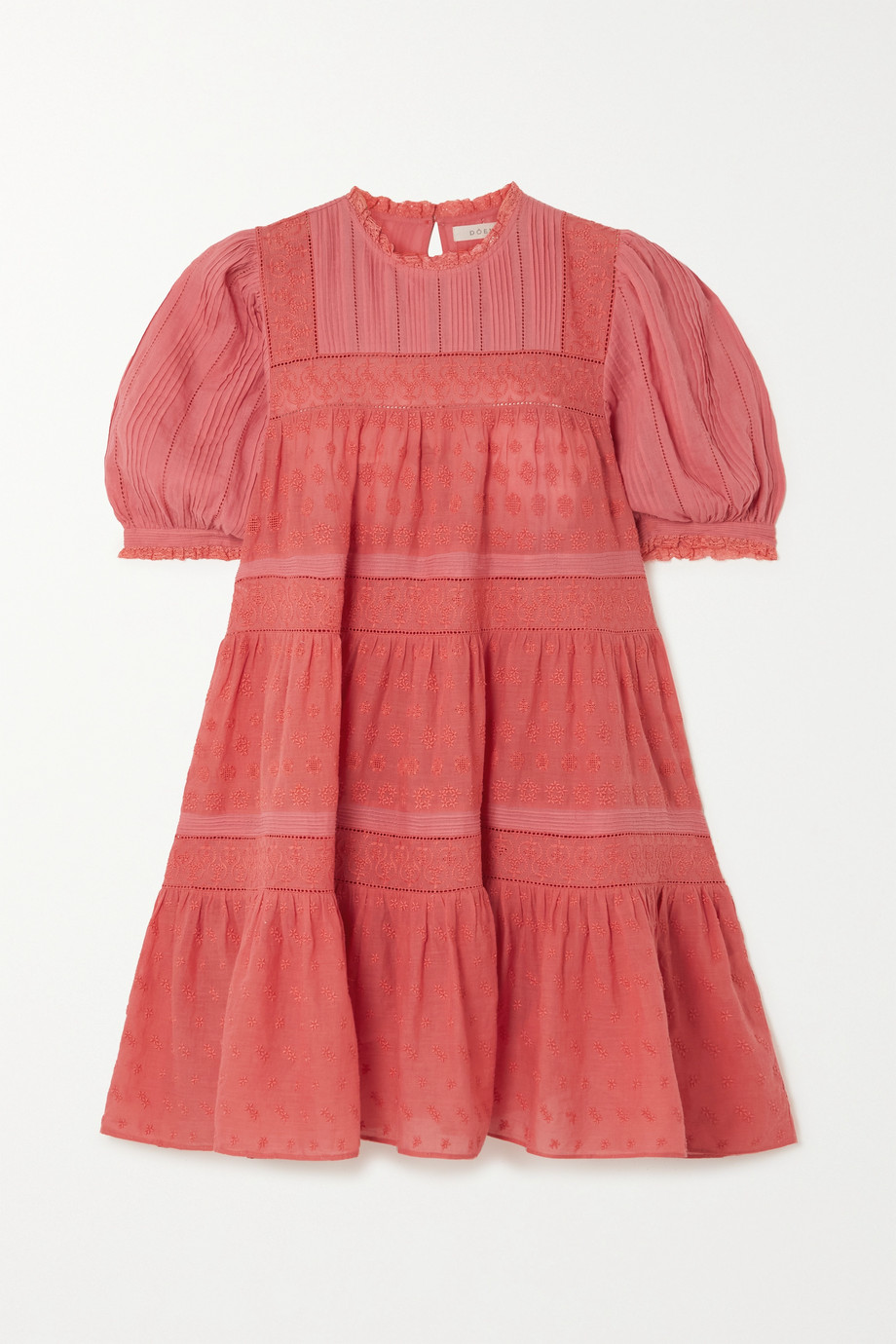 DÔEN Nerine embroidered tiered cotton-voile mini dress