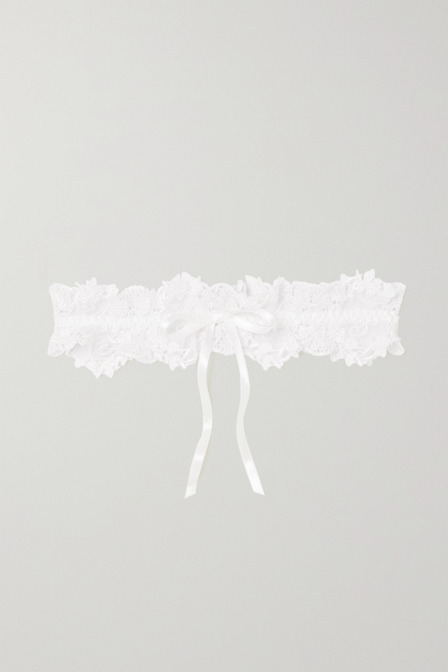 AGENT PROVOCATEUR Averi satin-trimmed tulle and lace garter