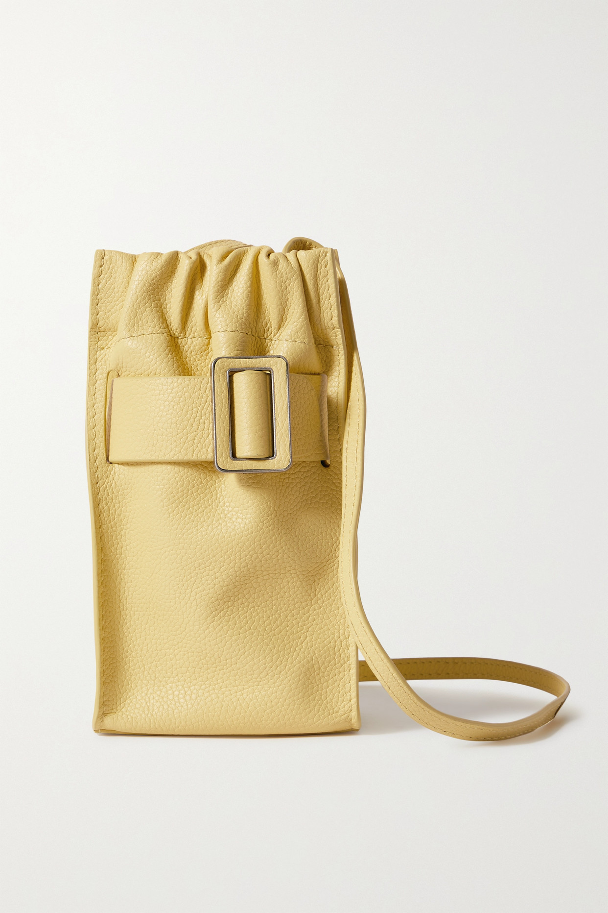 BOYY - Tall Scrunchy Buckled Textured-leather Shoulder Bag - Yellow - one size