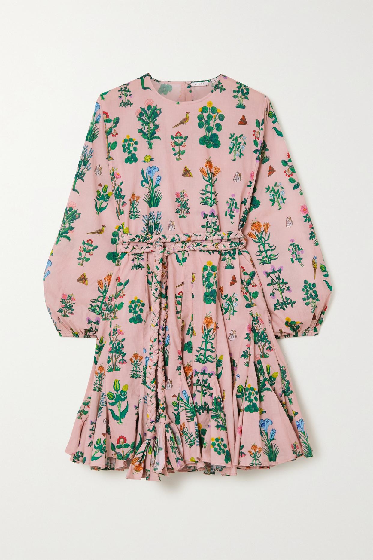 RHODE - Ella Belted Floral-print Cotton-voile Mini Dress - Pink - large