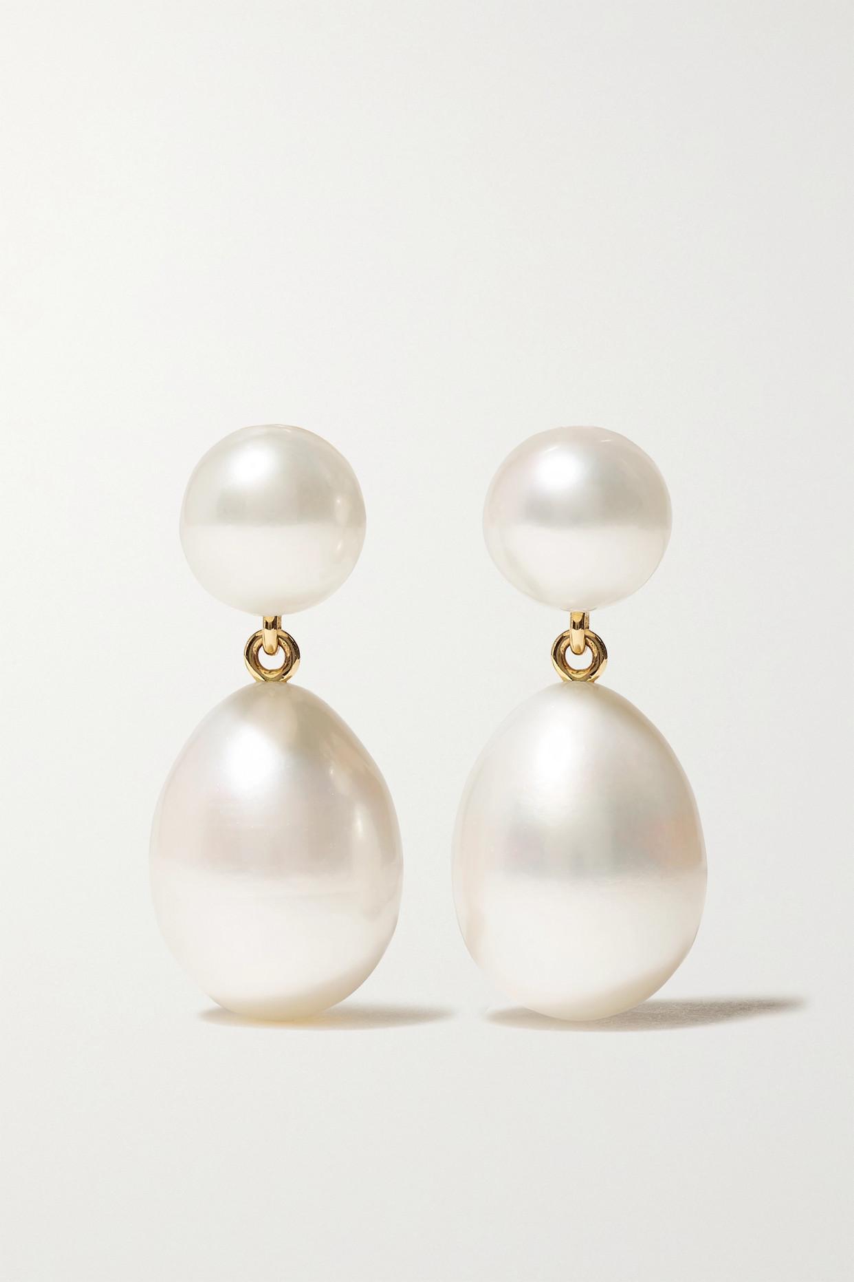 Sophie Bille Brahe Grand Venus L'eau 14-karat Gold Pearl Earrings