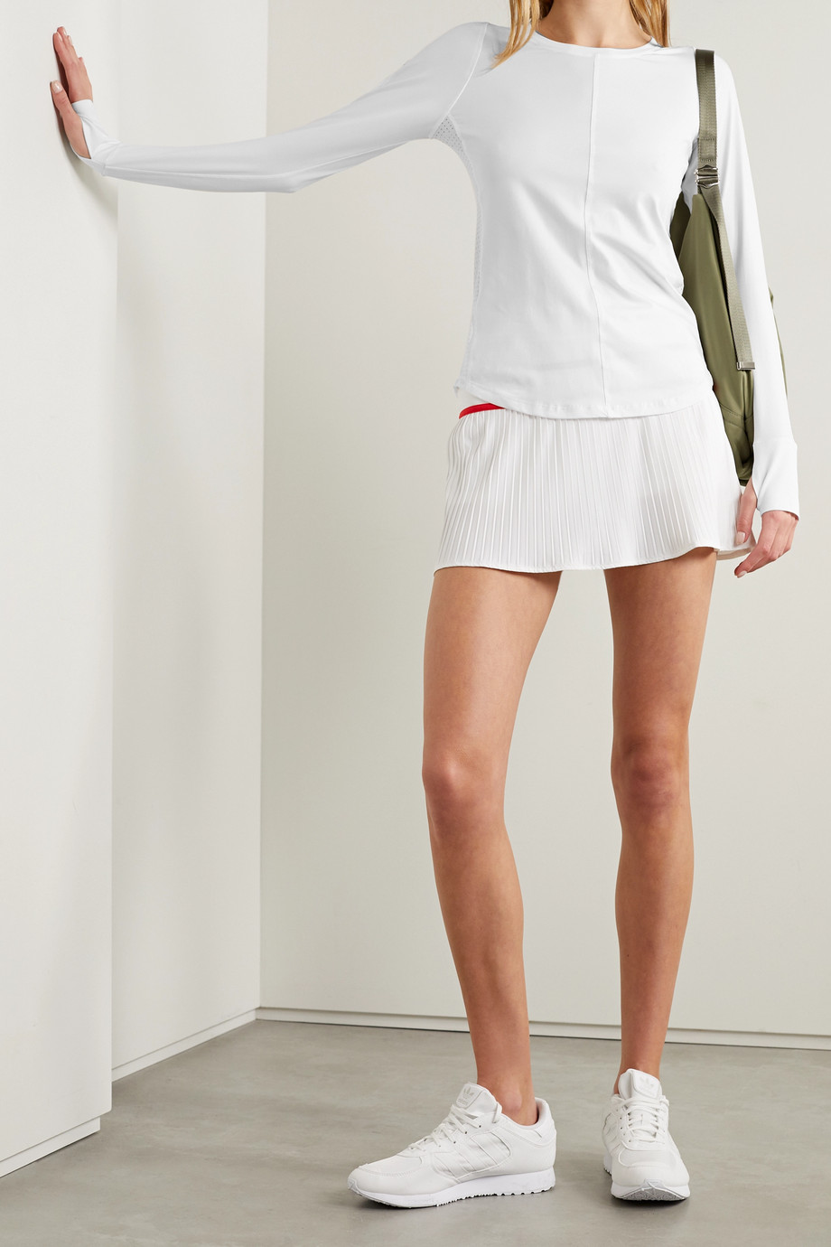 L'ETOILE SPORT Mesh-paneled stretch-jersey top