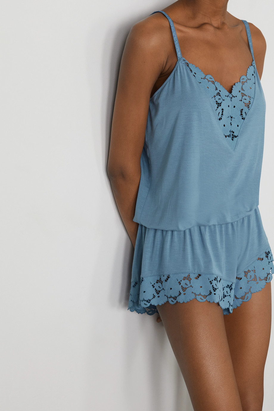 EBERJEY Naya lace-trimmed stretch-modal playsuit