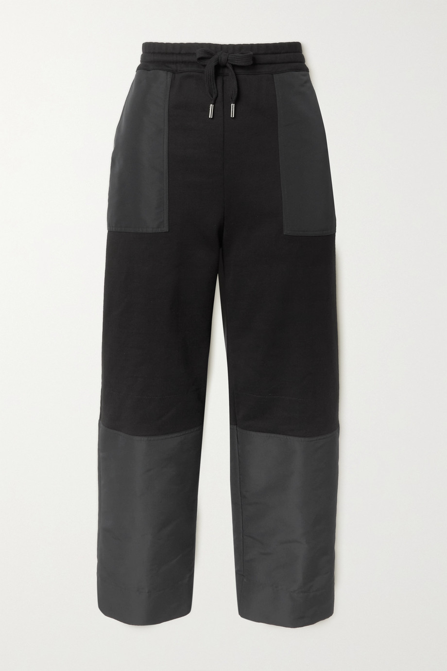 ALEXANDER MCQUEEN Paneled embroidered cotton-jersey and shell track pants