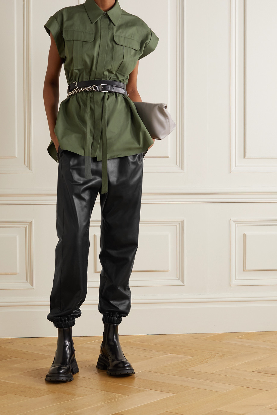 ALEXANDER MCQUEEN Leather track pants