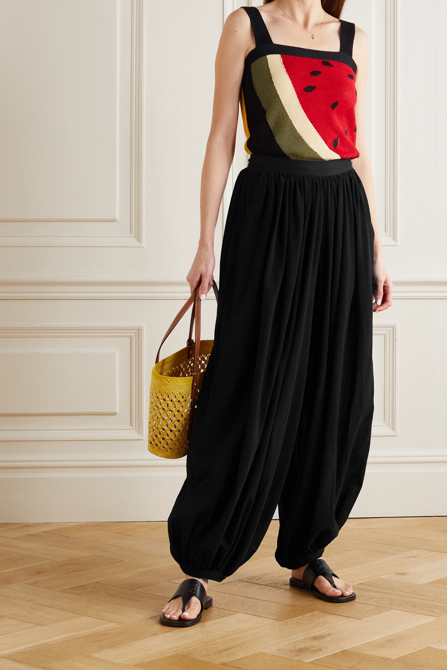 LOEWE + Paula's Ibiza draped cotton-voile pants