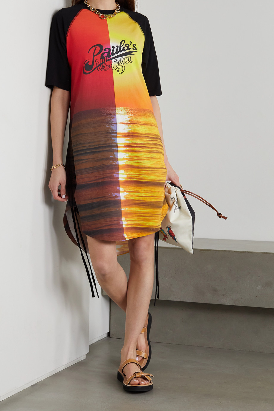 LOEWE + Paula's Ibiza Sunset ruched printed cotton-jersey dress