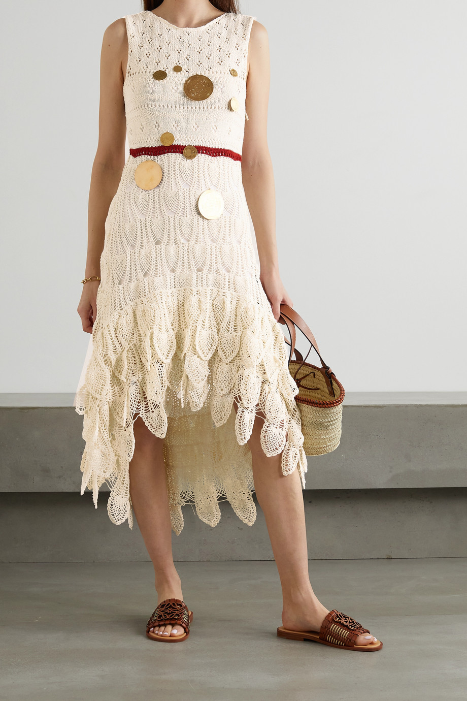 LOEWE + Paula's Ibiza asymmetric embellished crocheted cotton-blend midi dress