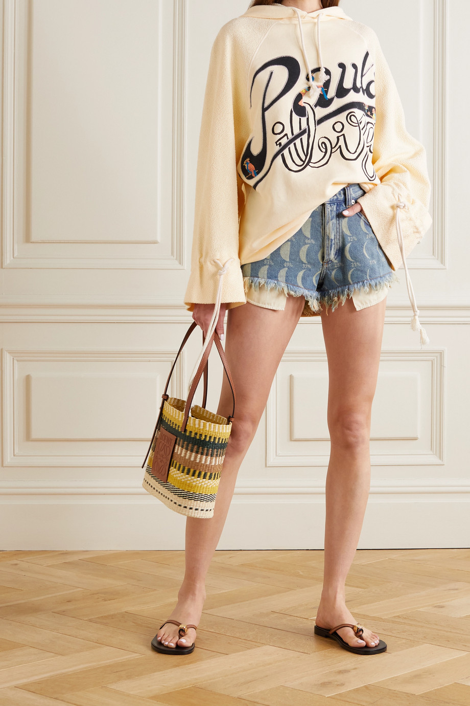 LOEWE + Paula's Ibiza oversized printed French cotton-terry and jersey hoodie