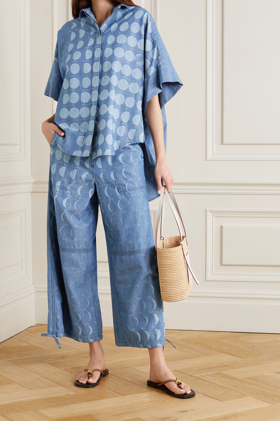 LOEWE + Paula's Ibiza asymmetric printed cotton-chambray shirt