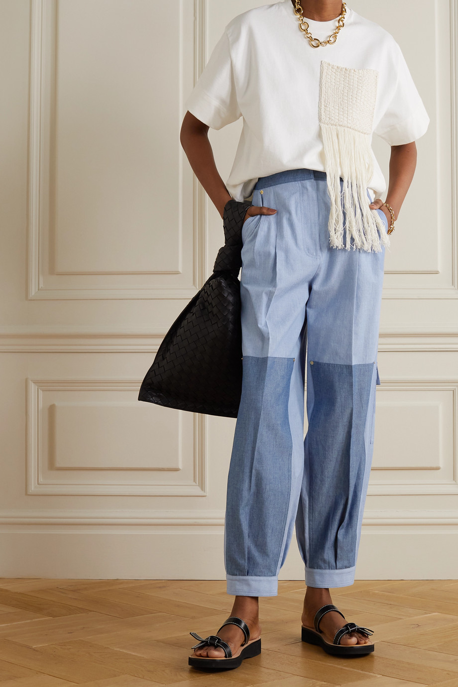 LOEWE Paneled two-tone cotton-chambray tapered pants