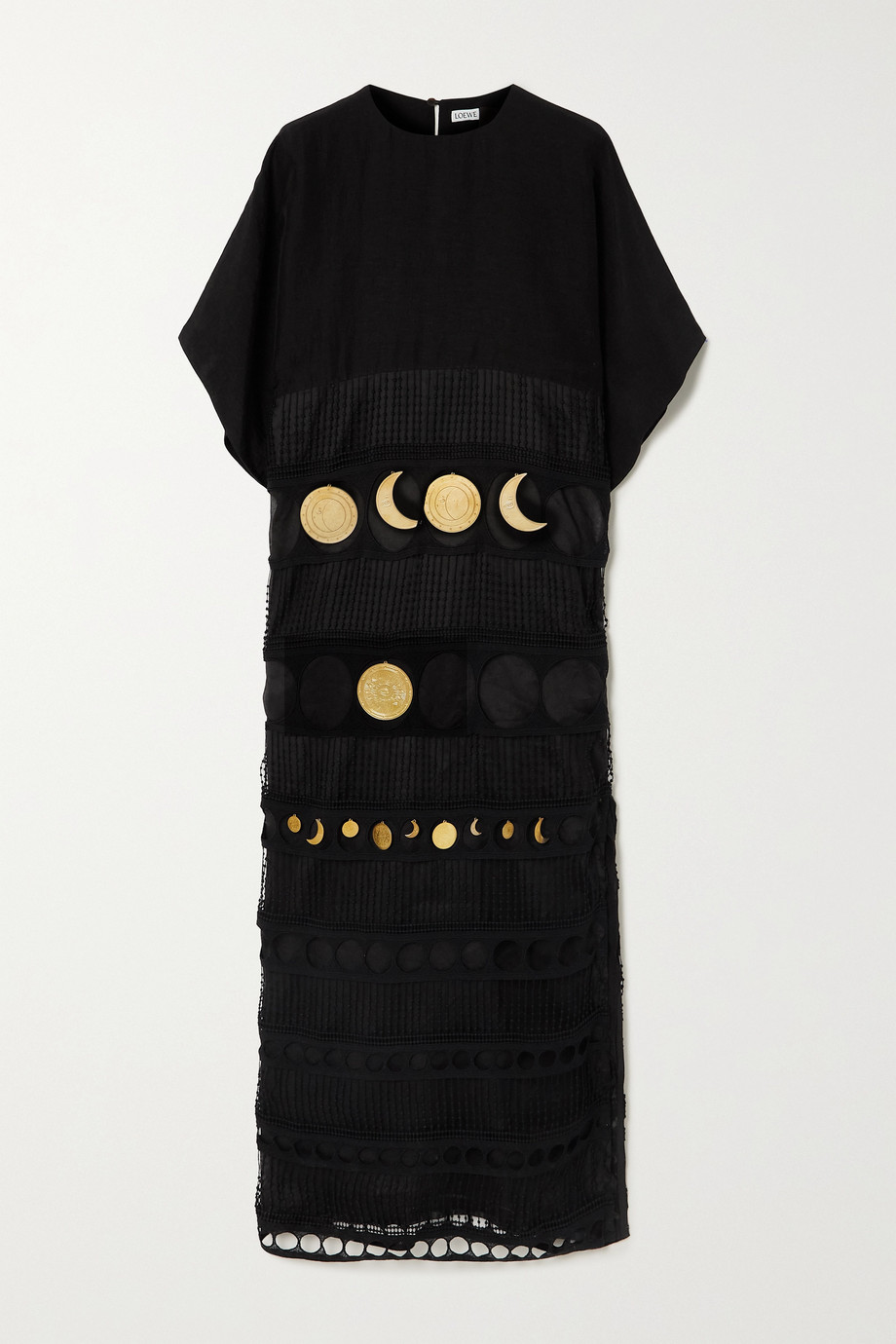 LOEWE + Paula's Ibiza embellished crocheted cotton and poplin dress