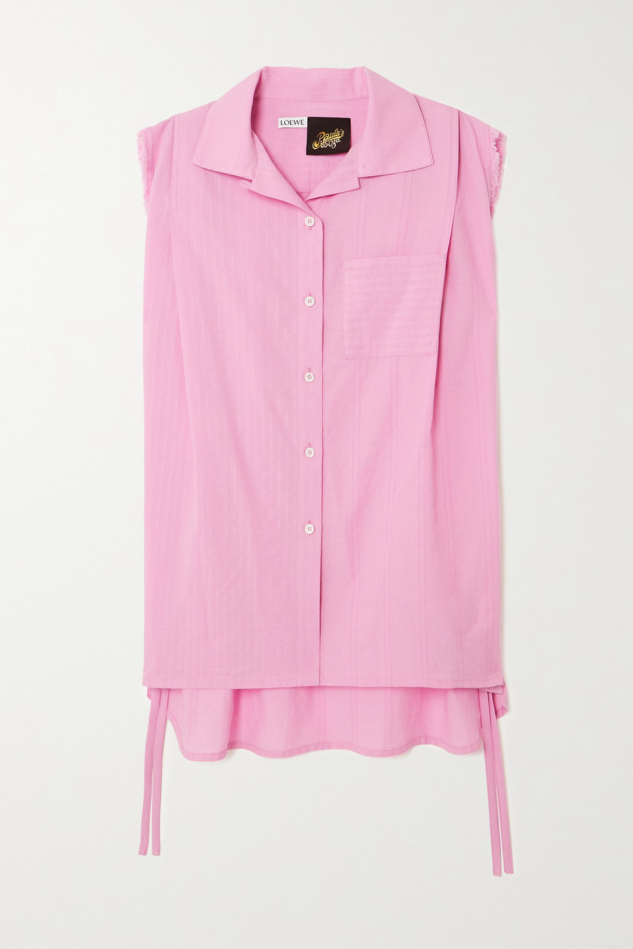 LOEWE + Paula's Ibiza tie-detailed frayed cotton blouse